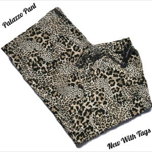 Leopard Print Palazzo Pant Wide Leg Stretch NWT 3X